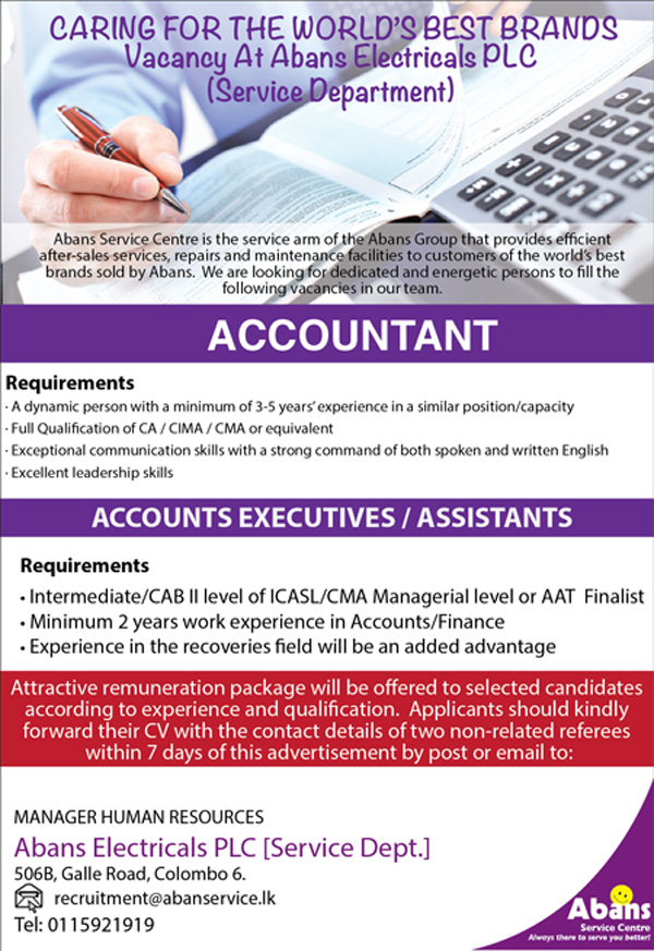 Accountant / Accounts Executives / Assistants